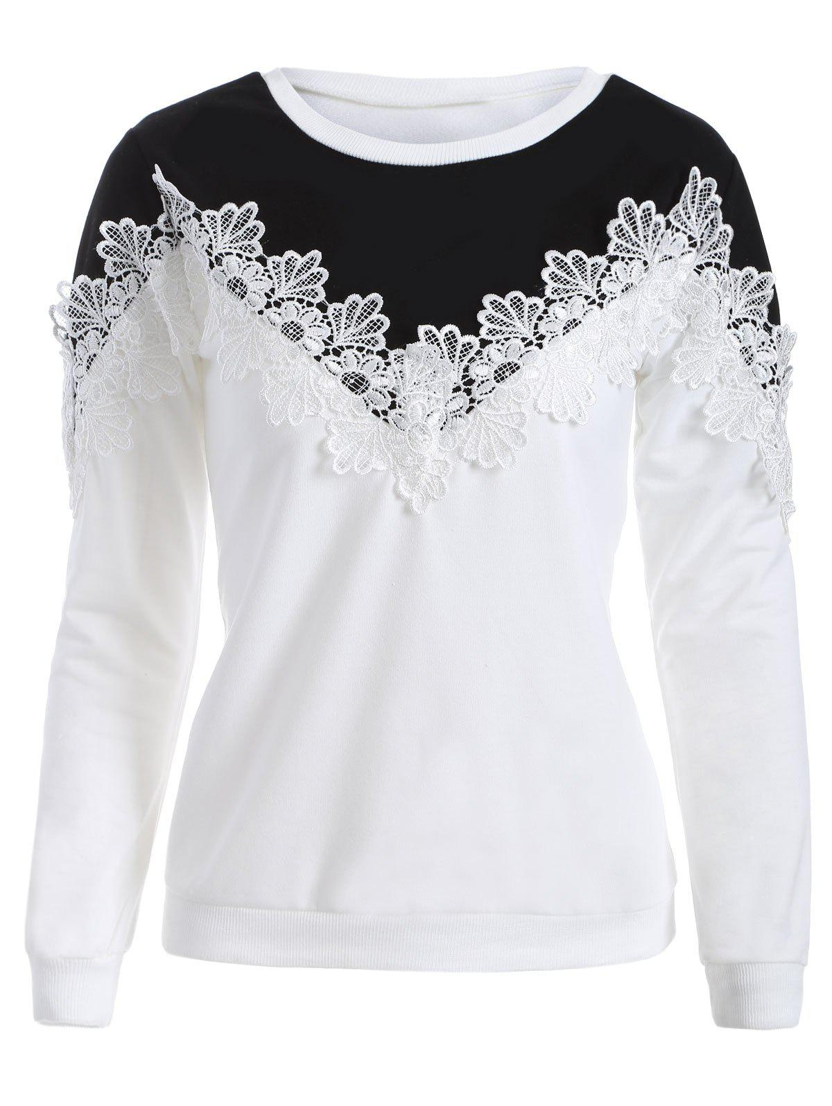 Crochet Trim Chevron Panel Sweatshirt - WHITE/BLACK L