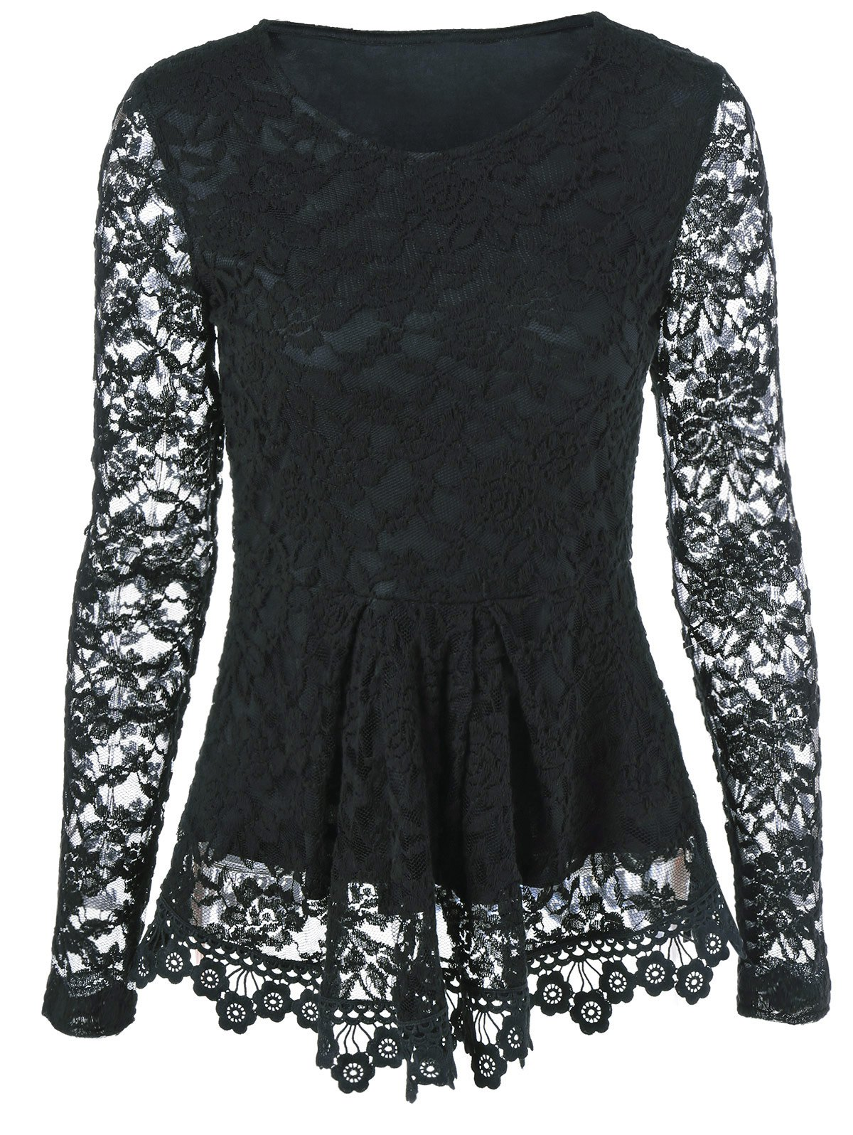 Sheer Sleeve Lace Peplum BlouseWomen<br><br><br>Size: XL<br>Color: BLACK