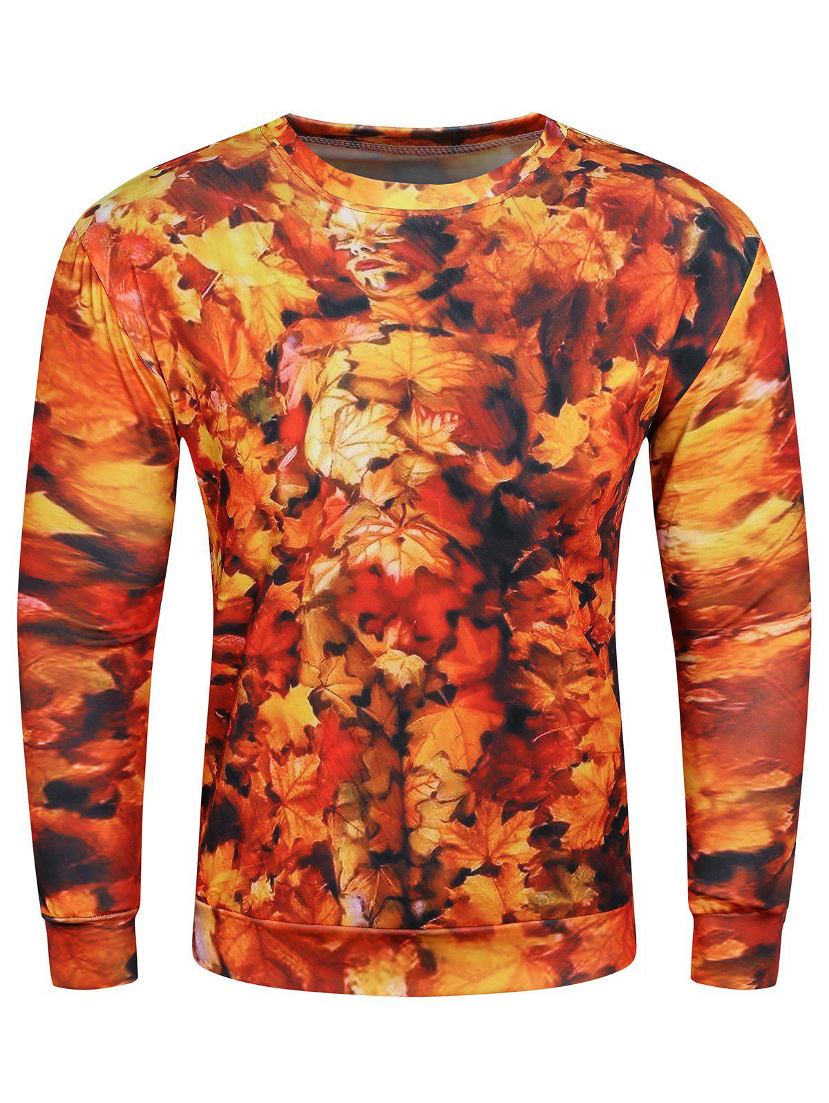 3D Maple Leaves Printed Long Sleeve Crew Neck Sweatshirt