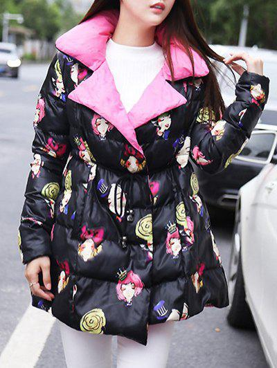 Cartoon Print Fitting Padded Coat