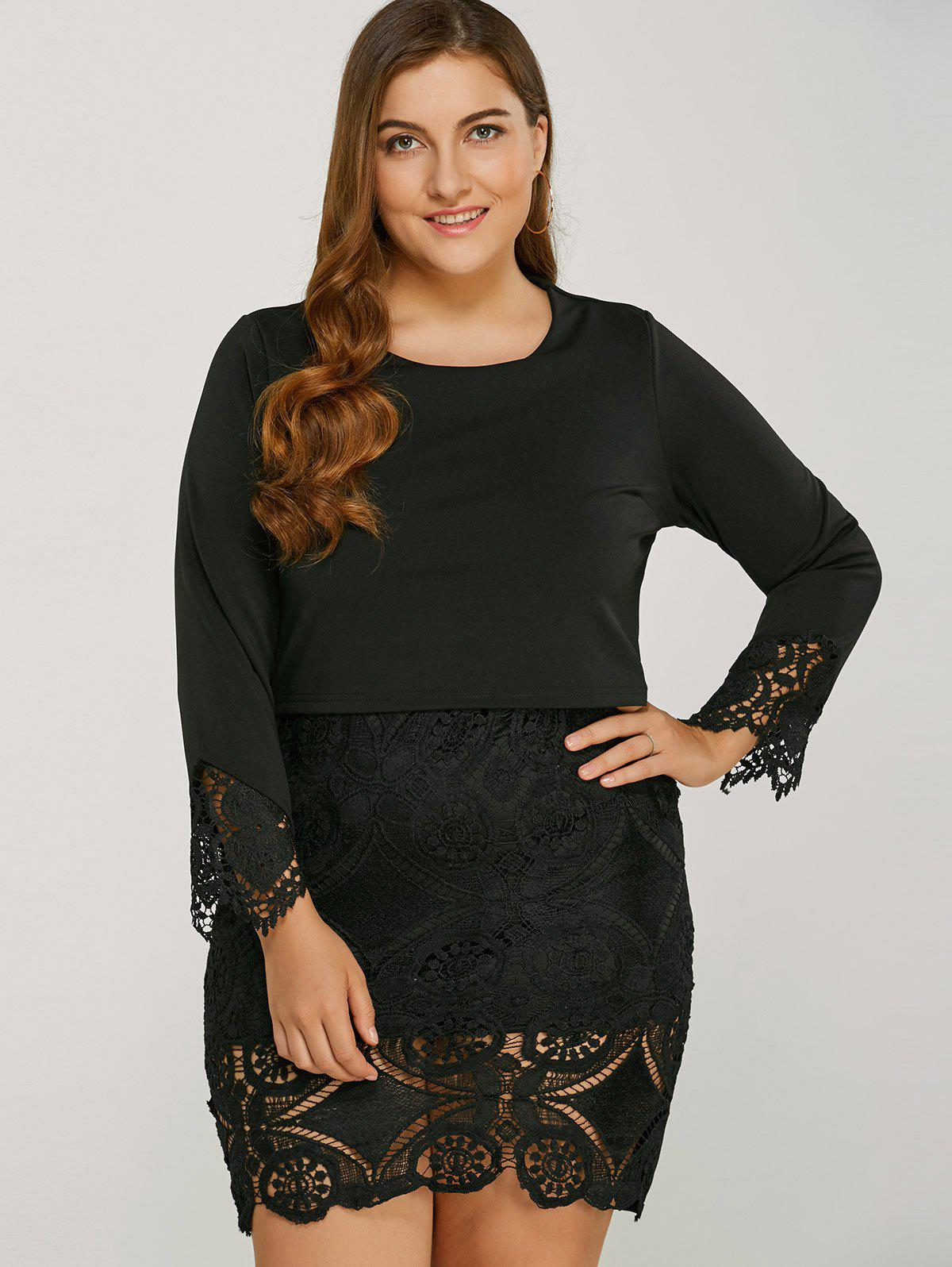 Long Sleeve Lace Splicing Plus Size Bodycon Dress - BLACK 3XL