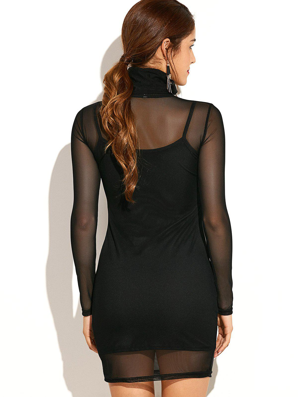 Turtleneck See-Through Long Sleeve Bodycon Dress with Cami Dress - BLACK M