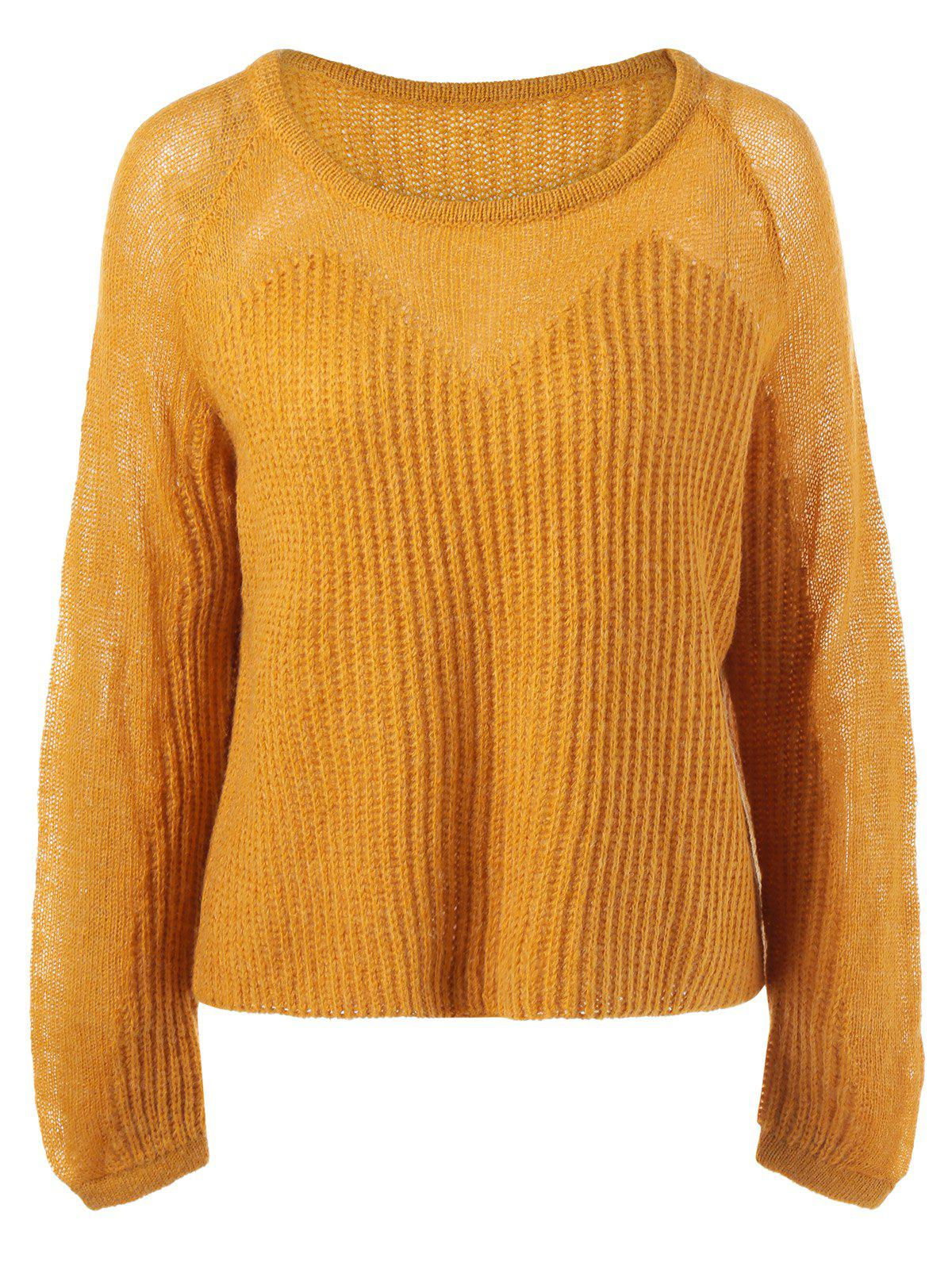 Pullover Long Sleeve Knitwear - YELLOW ONE SIZE