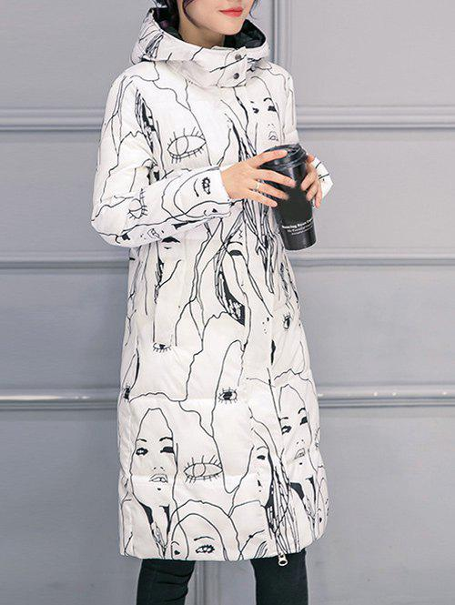 Hooded Abstract Print Puffer Coat - WHITE S