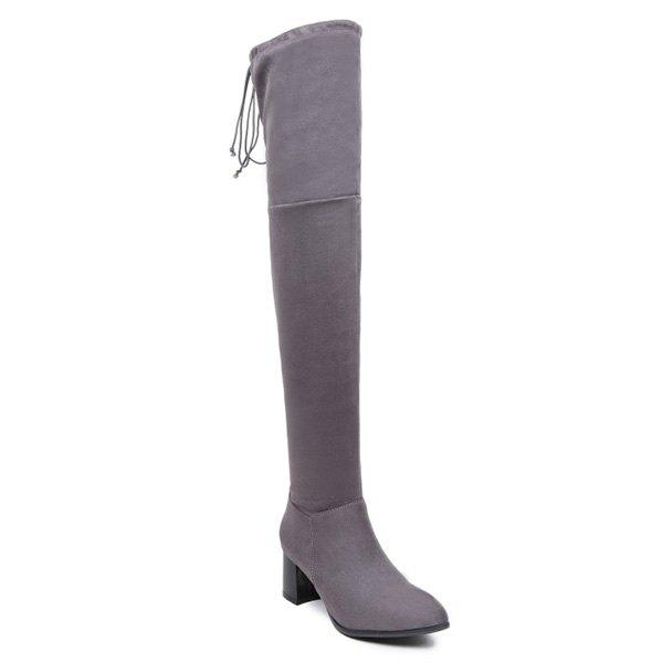 Concise Chunky Heel Flock Thigh Boots concise chunky heel flock thigh boots