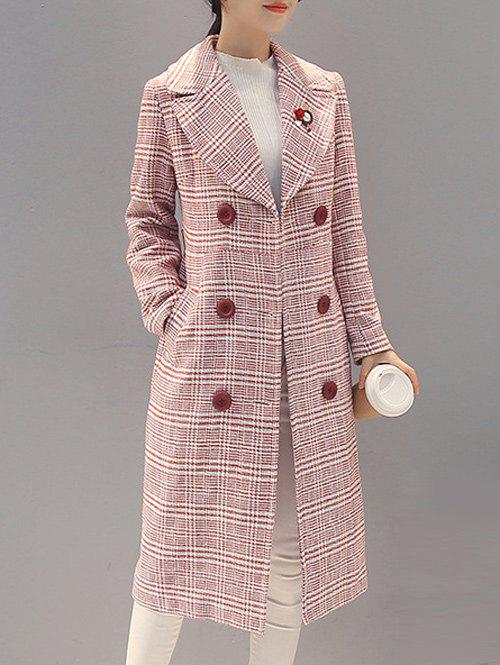 Double-Breasted Checked Vinatge Coat - RED XL