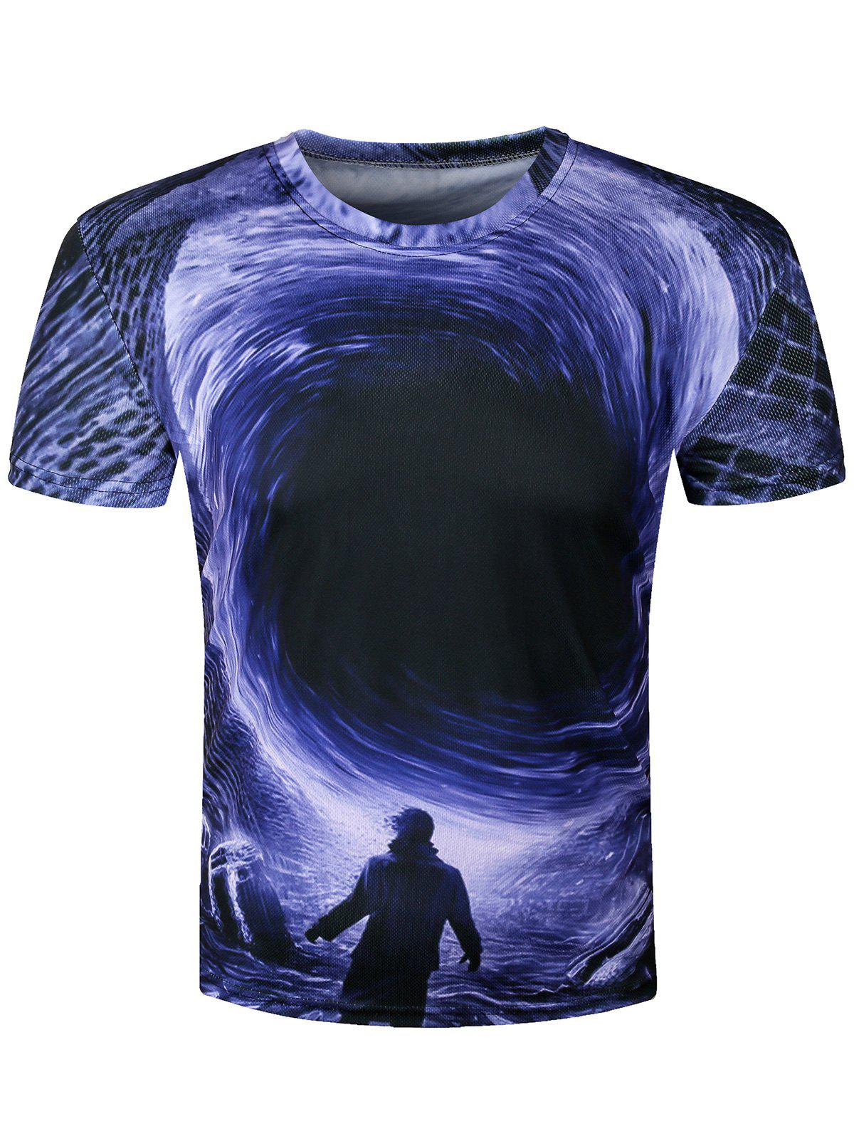 3D Disaster Eddy Hole Printed Crew Neck T-Shirt - BLUE M