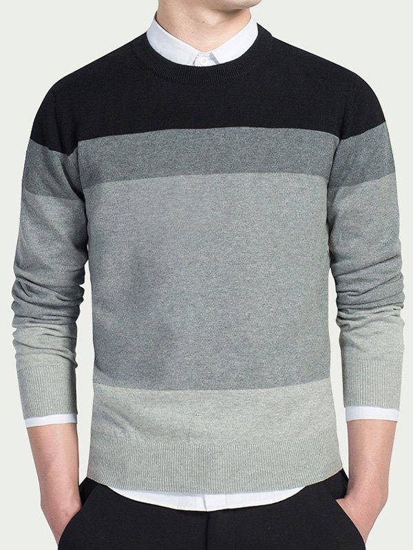 Long Sleeves Striped Crew Neck Knitwear - BLACK XL