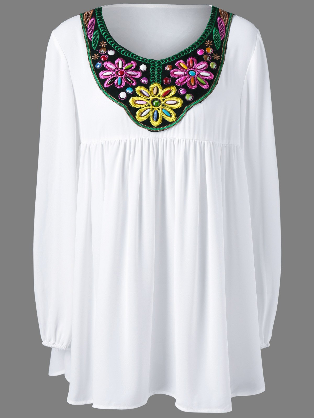 Plus Size Bead and Embroidery Blouse - WHITE 5XL