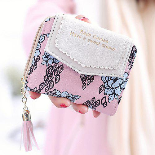 Tassels Floral Small Wallet - PINK