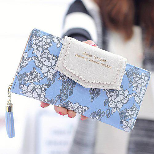 Glands imprimé floral Clutch Wallet - Bleu