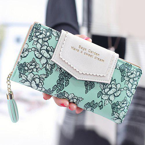 Tassels Floral Print Long Wallet - GREEN