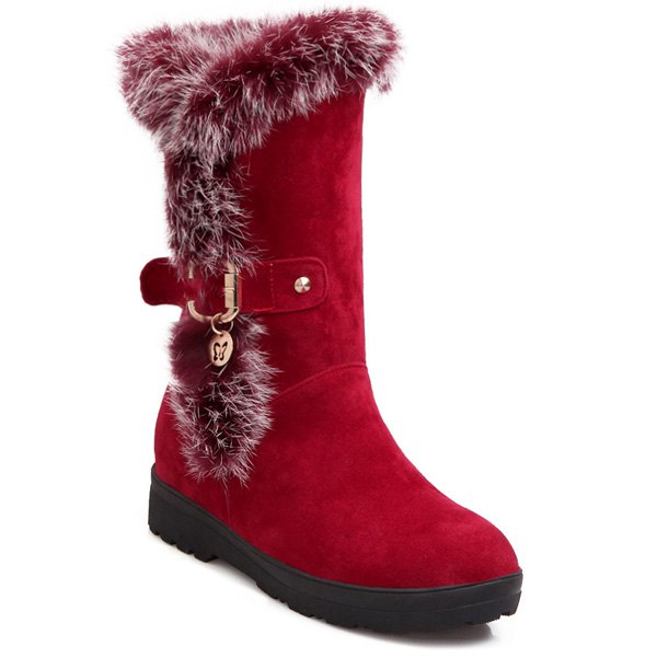 Increased Internal Buckle Faux Fur Mid-Calf Boots - RED 38