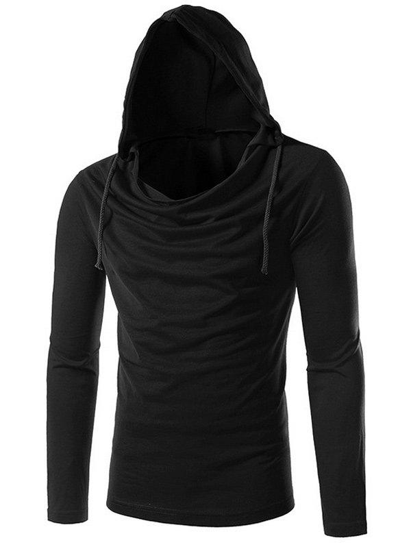 Plain Long Sleeve Drawstring Hooded T-Shirt - BLACK XL