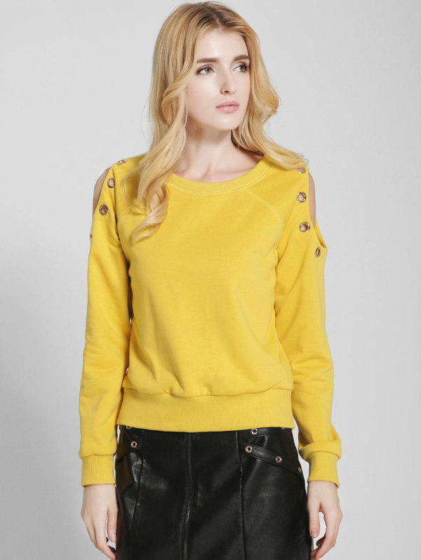 Cold Shoulder Loose Sweatshirt - YELLOW L