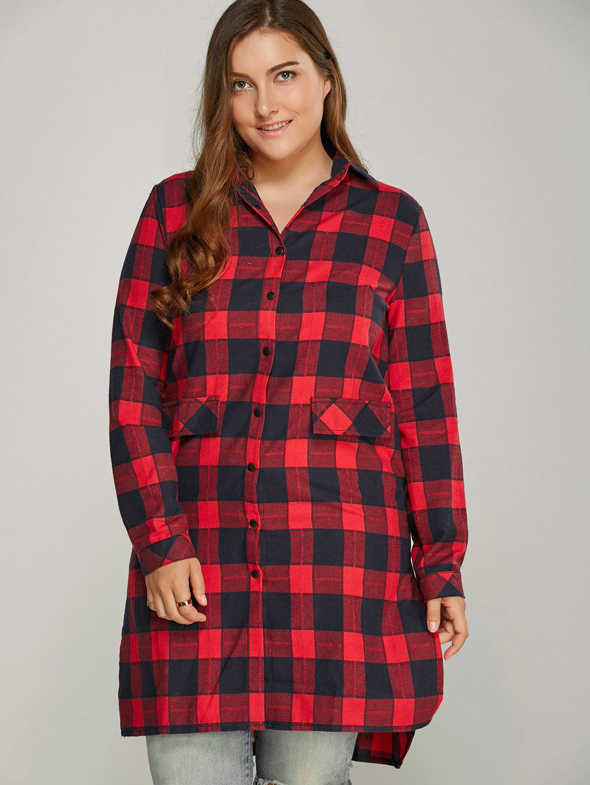 Button Up Plaid Shirt Dress - Rouge XL