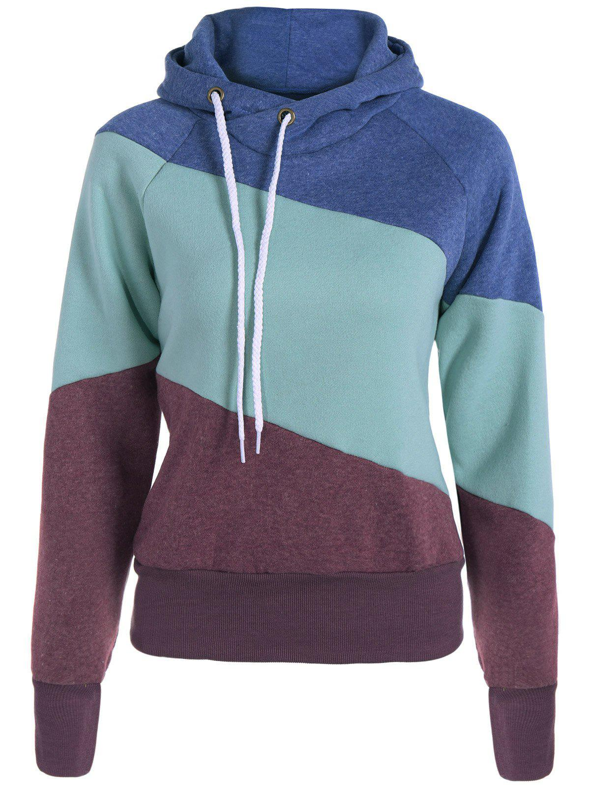 Hoodie Casual Color Block manches longues femmes - Brun XL