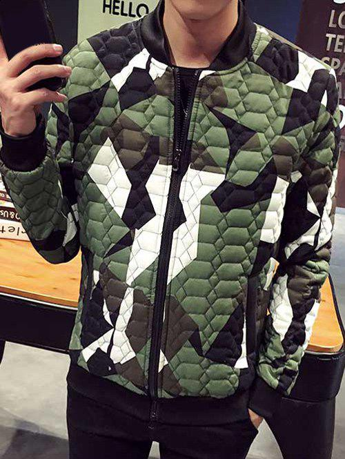 Plus Size Color Block Splicing Stand Collar Zip-Up Cotton-Padded Jacket stand collar plus size camouflage zip up cotton padded jacket