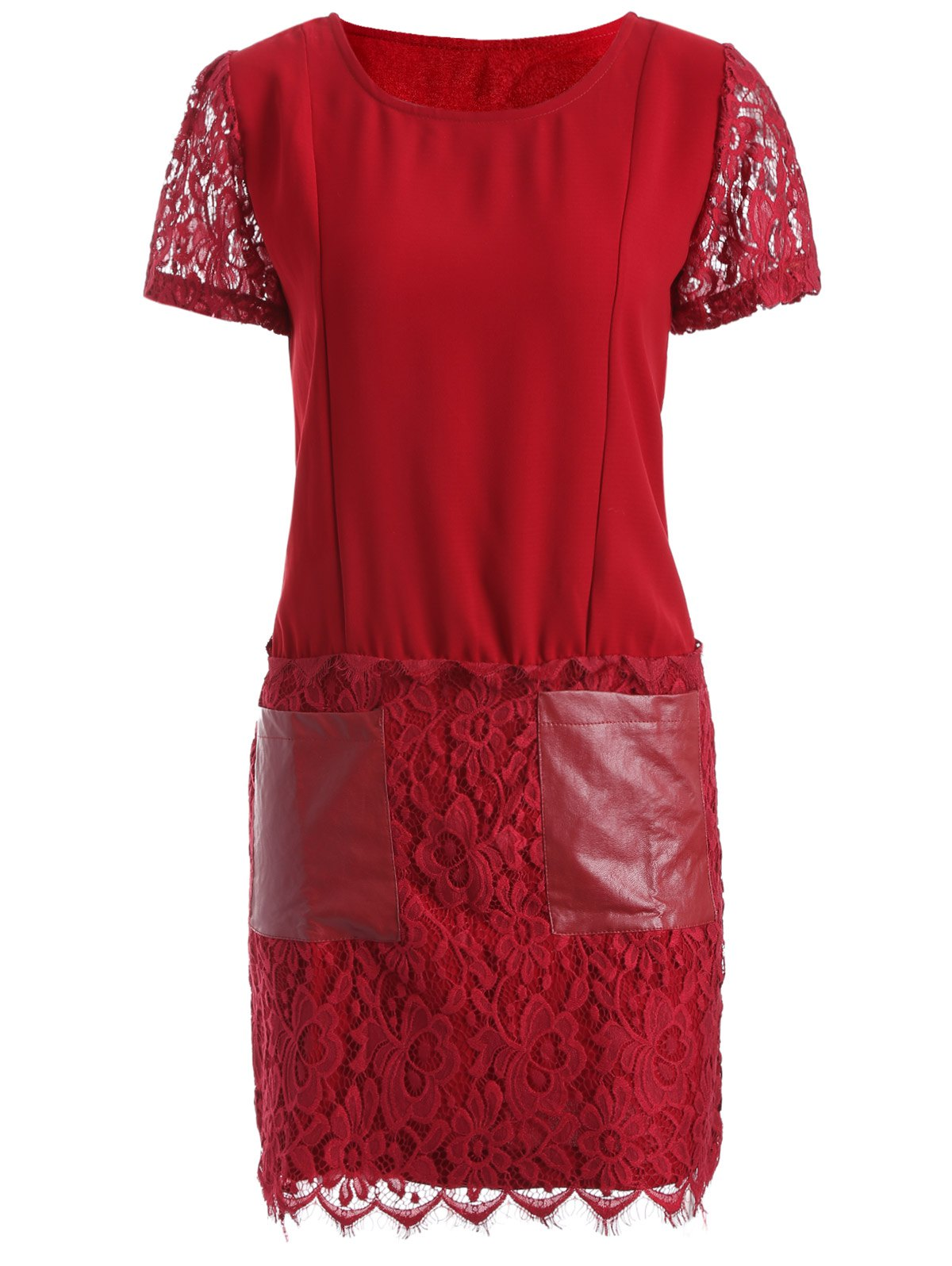 Pocket Lace Splicing Faux Leather Panel Dress - RED L