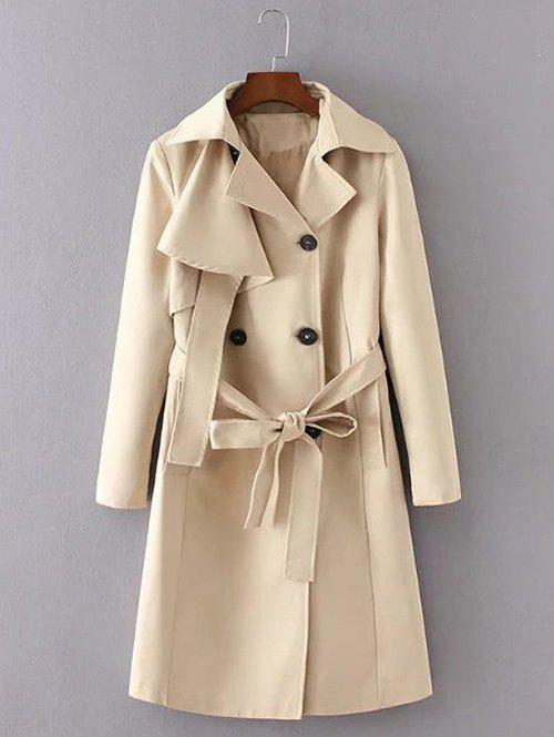 Belted Button Up Long Trench Coat - KHAKI S
