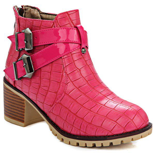 Double Buckle Embossed Plaid Pattern Ankle Boots - LIGHT RED 40