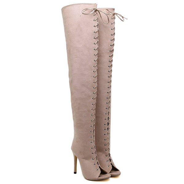 Peep Toe Lace-Up Stiletto Heel Thigh Boots - APRICOT 38