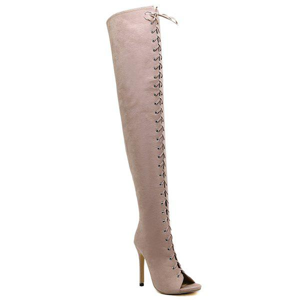 Peep Toe Lace-Up Stiletto Heel Thigh Boots новое прибытие 2017 blue denim women boots peep toe high heel over the knee boots sexy lace up thigh high boots zipper long