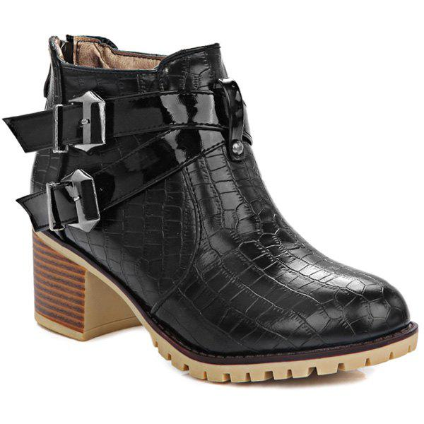 Double Buckle Embossed Plaid Pattern Ankle Boots - BLACK 40