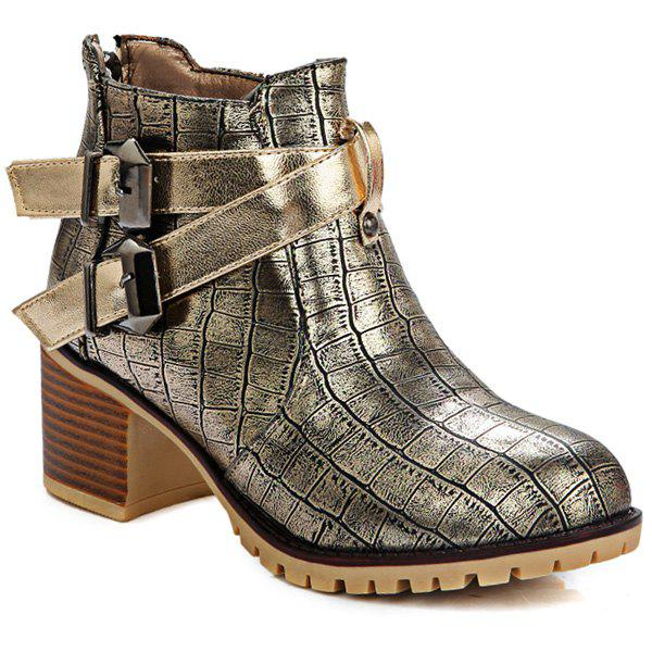 Double Buckle Embossed Plaid Pattern Ankle Boots - GOLDEN 38