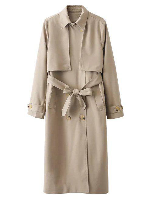 Button Up Belted Longline Trench Coat - KHAKI L