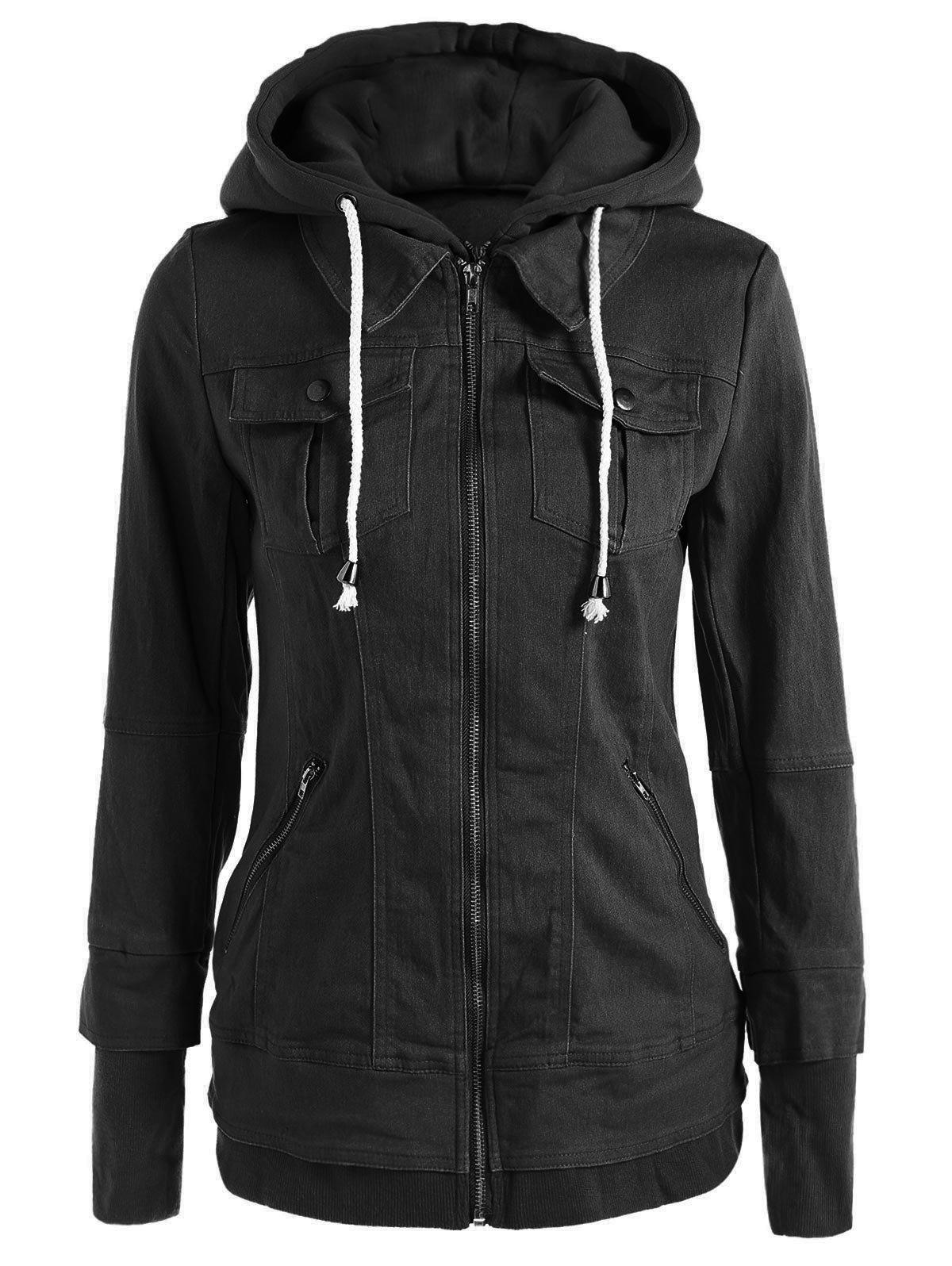 Trendy Hooded Long Sleeve Pocket Design Faux Twinset Women's Jacket - BLACK S