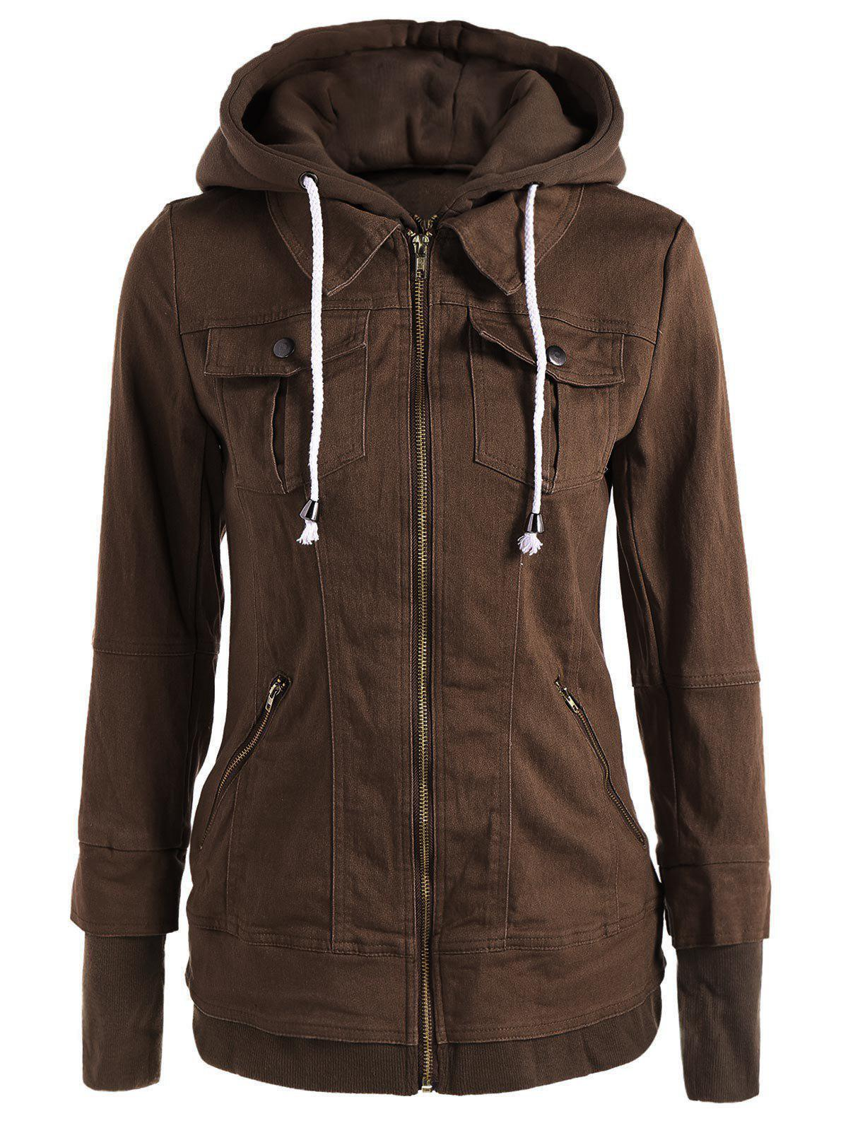 Trendy Hooded Long Sleeve Pocket Design Faux Twinset Women' Jacket, Brown