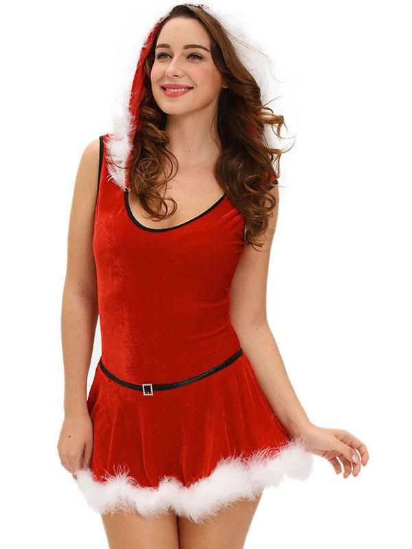 Christmas Hooded Jumpsuit With Skirt - RED L
