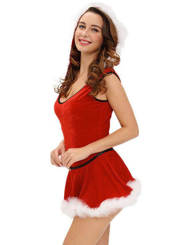 Christmas Hooded Jumpsuit With Skirt - RED S