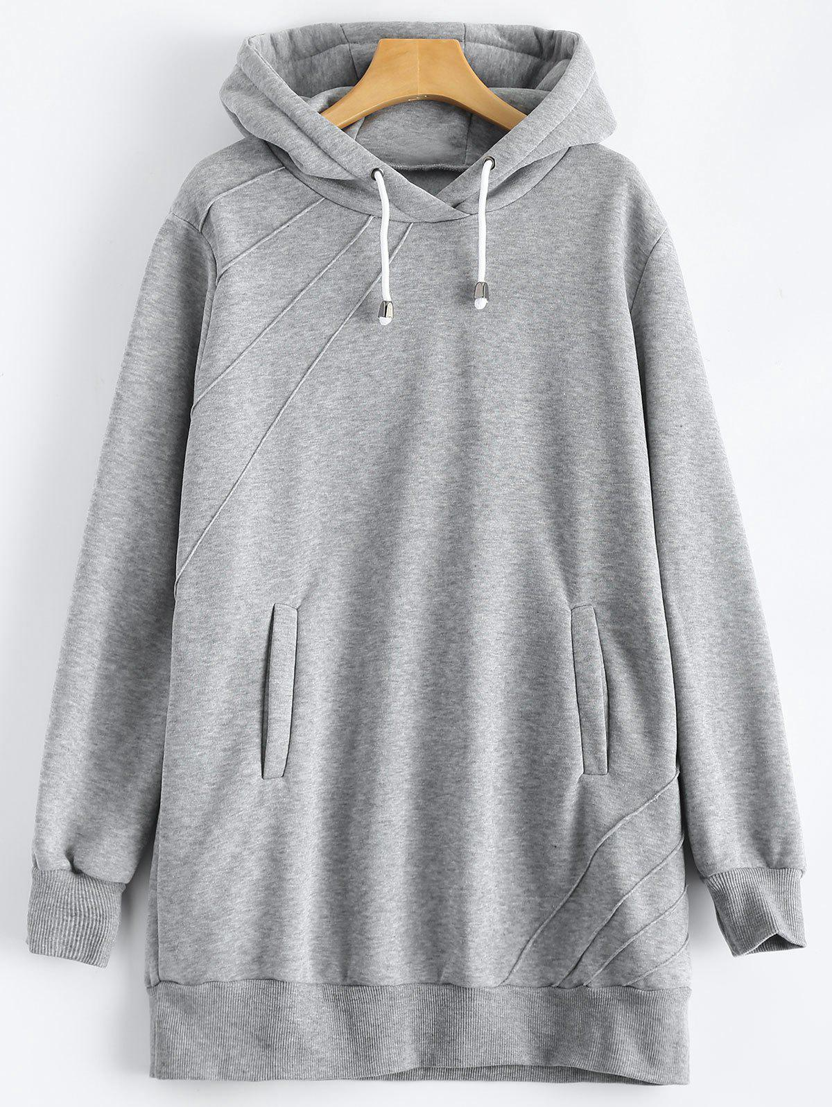 Pullover Hoodie with Pockets - GRAY L
