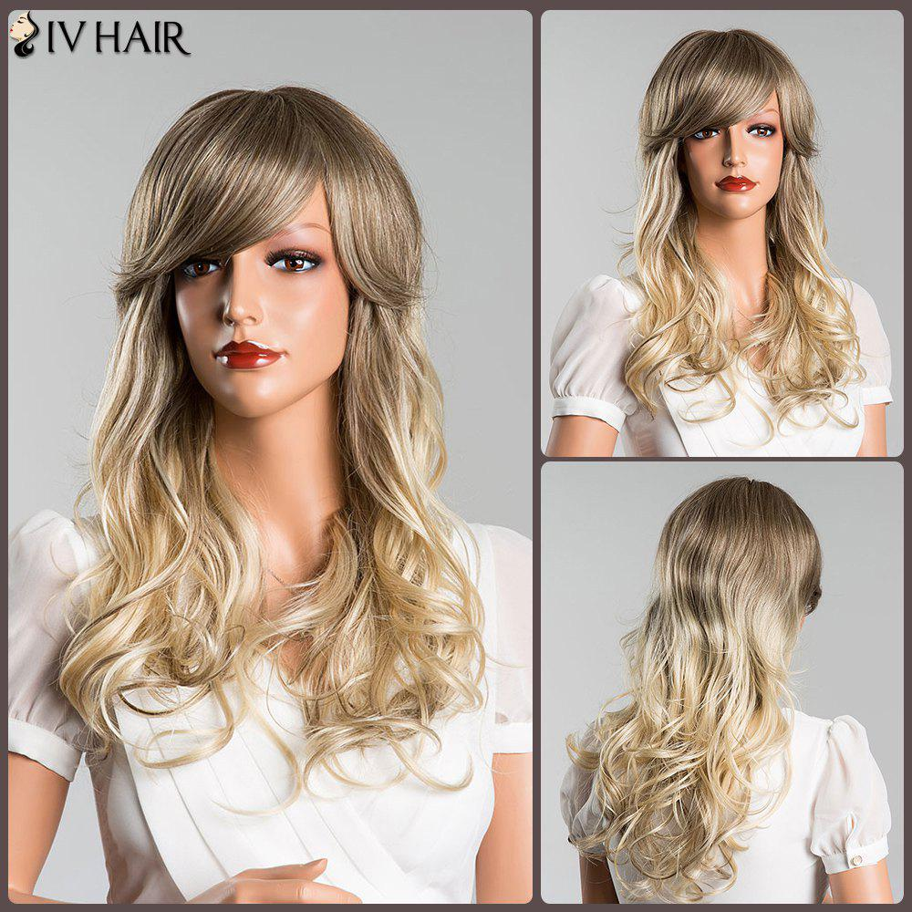 Long Wavy Side Bang Mixed Color Siv Human Hair Wig