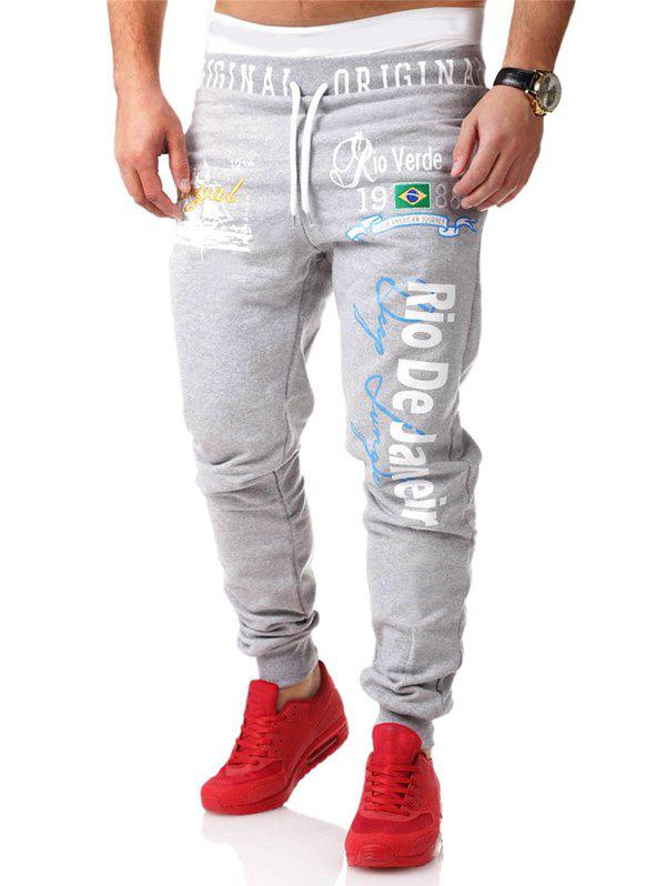 Graphic Print Drawstring Coton Jogger Pants ios page 2