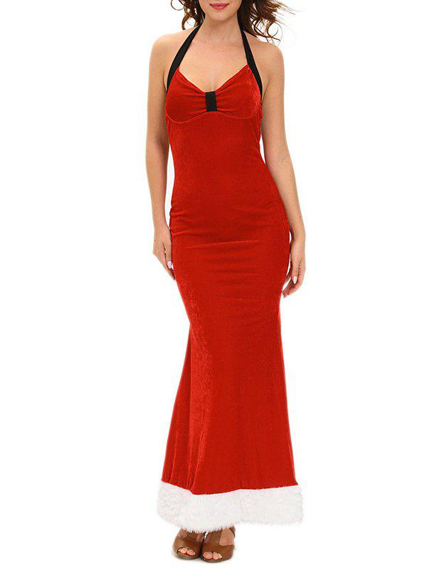 Christmas Backless Halter Velvet DressWomen<br><br><br>Size: ONE SIZE<br>Color: RED