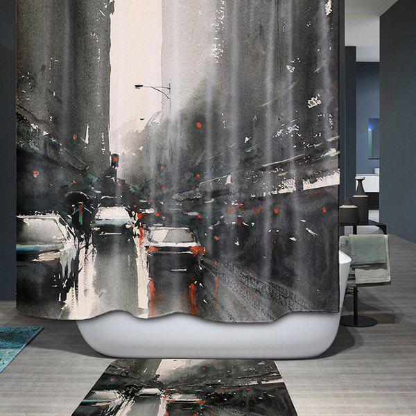 Thicken City Design Bathroom Waterproof Shower CurtainHome<br><br><br>Color: INK PAINTING