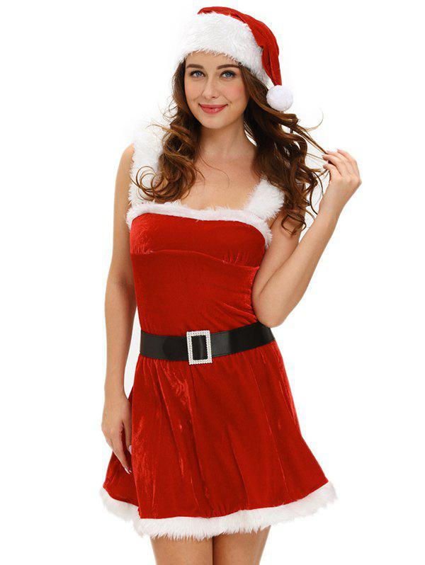 Christmas Cosplay Belted Cut Out Velvet Dress Costume christmas cosplay velvet dress