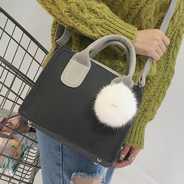 Stitching Pompon Color Block Tote