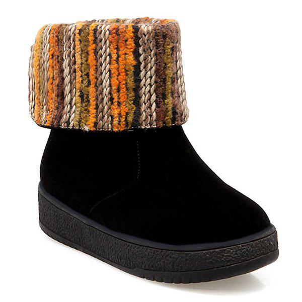 Round Toe PU Leather Knitting Snow Boots - BLACK 39