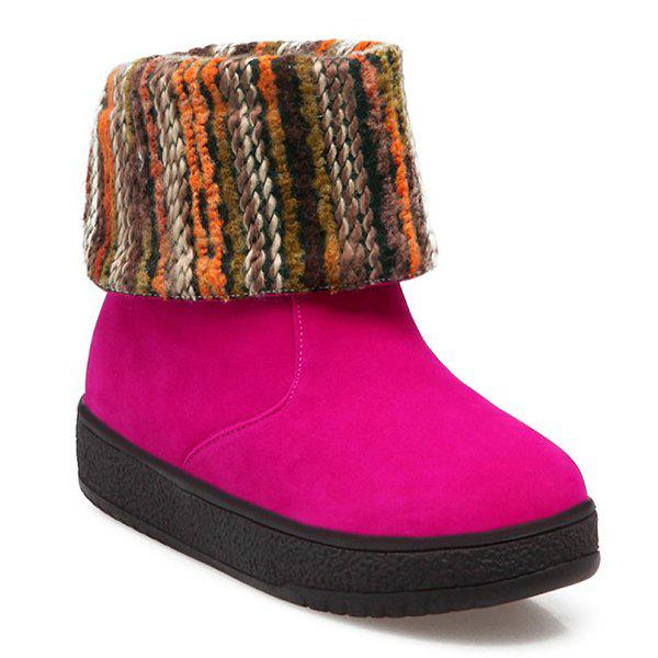 Round Toe PU Leather Knitting Snow Boots - ROSE MADDER 38