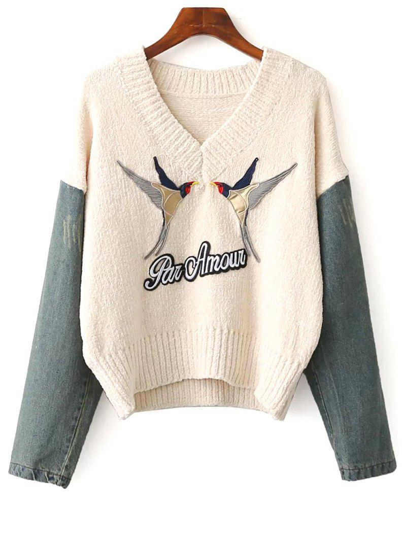 Denim Spliced Embroidery Sweater - APRICOT ONE SIZE