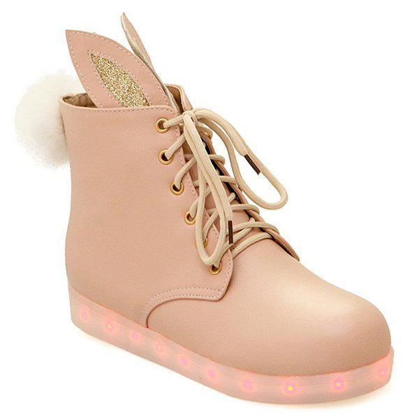 Bunny Ears Led Luminous Ankle Boots - PINKBEIGE 40