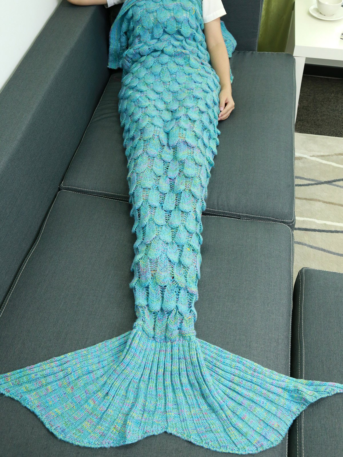 Comfortable Hollow Out Design Knitted Mermaid Tail Blanket - LAKE BLUE