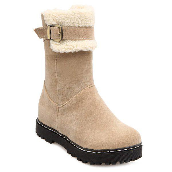Platform Suede Buckle Snow Boots lady s suede snow boots
