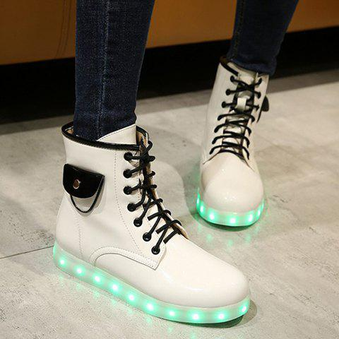 Tie Up Lights Up Ankle Boots - WHITE 37