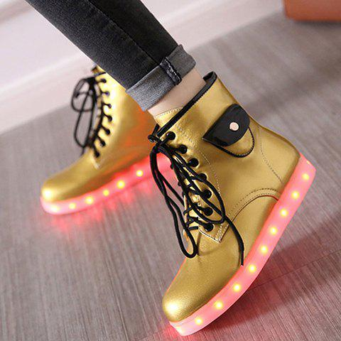 Tie Up Lights Up Ankle Boots - GOLDEN 39