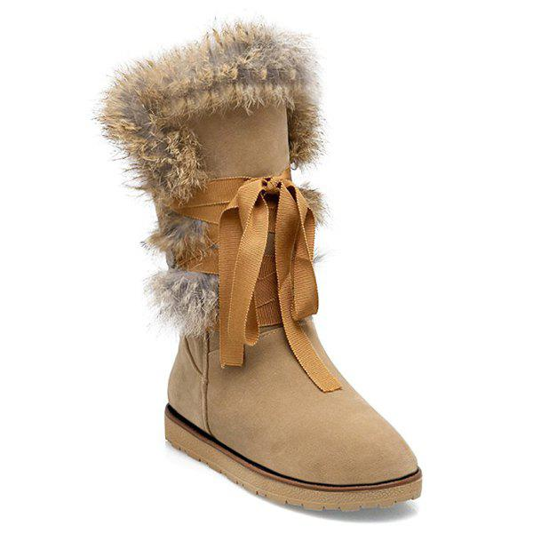 Faux Fur Lace Up Mid Calf Boots - SAND YELLOW 37
